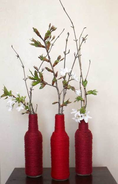 bottles,recycle,yarn,decor,home