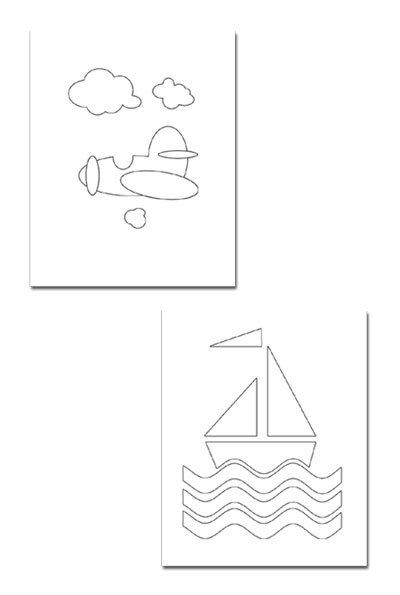 collage,boat shape,plane shape,template